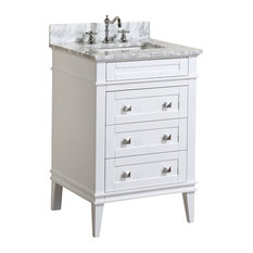 "Kitchen Bath Collection - Eleanor Bathroom Vanity With Carrara Top, White, 24"" -"