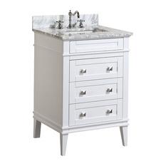 Kitchen Bath Collection Eleanor Bathroom Vanity With Carrara Top White 24