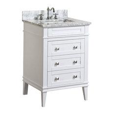 "Eleanor Bathroom Vanity With Carrara Top, White, 24"""