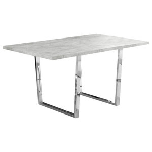 Dining Table With Chrome Metal Base, Gray Faux Cement
