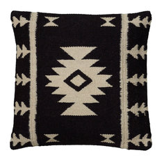 18 In. X 18 In. Black Decorative Pillow With Woven Southwestern Patten