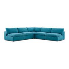 Modern Contemporary Urban Living Sectional Sofa Set Aqua Blue