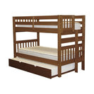 Bedz King Bunk Beds Twin over Twin, End Ladder & Twin Trundle, Espresso