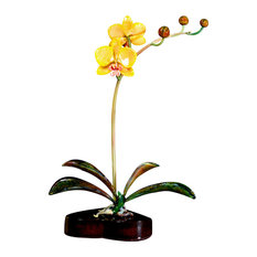 Yellow Orchid Glass Sculpture