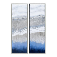 Sand Art Textured Metallic Hand Painted Wall Art Abstract Diptych Set