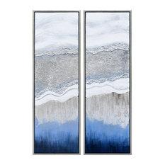 Sand Art Textured Metallic Hand Painted Wall Art Abstract Diptych Set