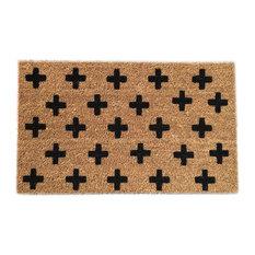 "Hand Painted ""Swiss Cross"" Doormat, Black Soul"