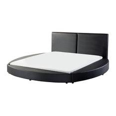 Laval Genuine Leather Slatted Bed Frame, Black, UK Super King