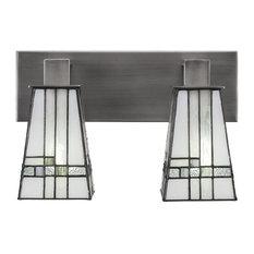 Apollo 2-Light Bath Bar Graphite New Deco Tiffany Glass