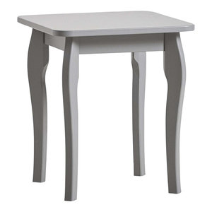Dressing Table Stool, Grey Painted MDF With Curved Legs, Contemporary Style