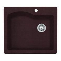 Swan 25x22x9.5 Granite Kitchen Sink, 1-Hole, Espresso