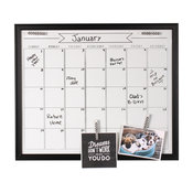 DesignOvation Walcott Framed Dry Erase Monthly Calendar, Black