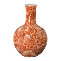 Globular Vase With Dragon Motif Orange