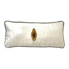 Ivory Handbeaded Velvet Pillow with Removable Pin, Ivory-Autumn