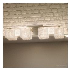 Luxury Modern Nickel Ribbed Glass Bathroom Light, UQL2724, San Diego Collection
