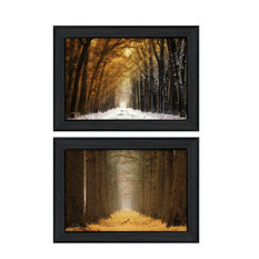 """""""Golden Forest Path"""" Collection By Martin Podt, Printed Wall Art, Black Frame"""