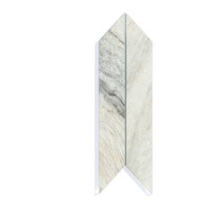 Crema Cielo 4 in. x 12 in. Glass Parallelogram Tile, Box of 54 Pieces