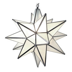 Moravian Star Pendant Light, Frosted Glass, Silver Frame, 18""
