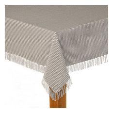"Homespun Fringed 100% Cotton Tablecloth, Gray, 60""x84"""