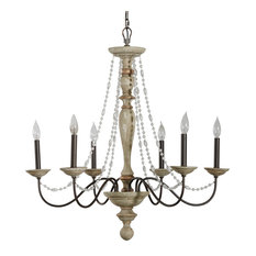 Maybel Chandelier, Washed Wood and Crystal