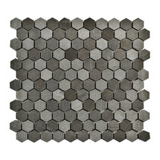 "11""x11.63"" Structura Hex Volcanic Stone Mosaic Floor/Wall Tile, Black Lava"