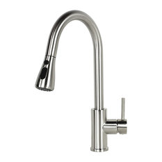 Euro Style Pull Out Sprayer Solid Brass Kitchen Faucet, Brushed Nickel