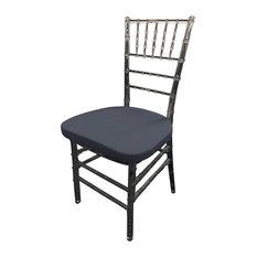 LA Linen Spandex Chiavari Chair Cushion Cover, Navy, Set of 4
