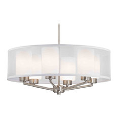 Organza Drum Pendant Light Satin Nickel 6-Light