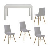 Angala Dining Table And 4 Milten Chairs, Platin Grey Lacquer