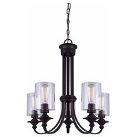 5 Light Chain Chandelier With Clear Glass Oil Rubbed Bronze