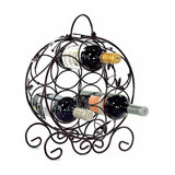 Contemporary Stylish Round Wine Rack in Black Finished Steel, 7 Bottles Capacity