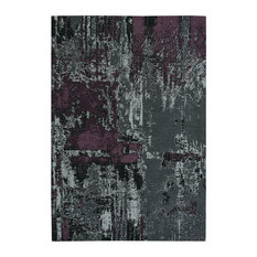 Smoke Violet Celestial-Abstract Rectangular Flat Woven Rug, 8'x10'