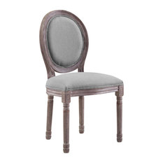 Vintage French Upholstered Fabric Dining Side Chair with Oval Back, Light Gray