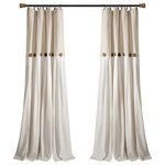 "Triangle Home Fashions - Linen Button Single Window Panel, Linen, 95""x40"" - Add the elegance of linen to your home with these farmhouse chic curtains. Color blocking is always in style and we love the details of pleats and buttons. Slight weave variations are authentic to this natural fiber blend and create a one-of-a-kind look.1 Window Panel: 95""H x 40""W"