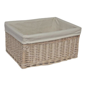 White Lined Storage Wicker Basket, Small