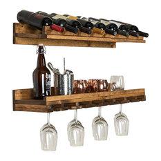 Rustic Luxe Tiered Wine Racks, Set of 2, Walnut