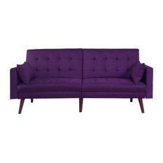 mid century sofa bed. Divano Roma Furniture - Modern Tufted Linen Splitback Recliner Sleeper Futon Sofa, Purple Mid Century Sofa Bed