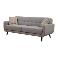 AC Pacific   Crystal Upholstered Mid Century Tufted Sofa With 2 Accent  Pillows, Gray