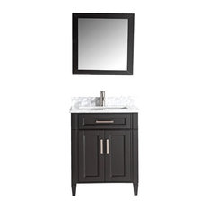 Vanity Art Vanity Set With Carrara Marble Top, Espresso, Standard Mirror, 30""