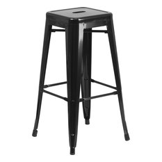 """Brimmes 30"""" Metal Barstool Backless Black With Square Seat, Stackable"""
