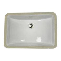 """Nantucket Sinks 18""""x12"""" Undermount Ceramic Sink, White"""