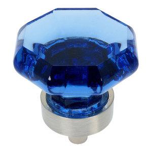 Cosmas 5268SN-BL Satin Nickel Cabinet Knob, Set of 10, Glass, Blue