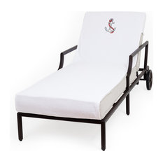Anchor Embroidered Standard Size Chaise Lounge Cover, White
