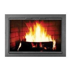 """37"""" x 30.12"""" Heritage Welded Steel Fireplace Door, Textured Black"""