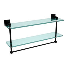 "Montero Collection 22"" Two Tiered Glass Shelf With Integrated Towel Bar"