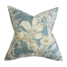 "Satriya Floral Pillow Blue 20""x20"""
