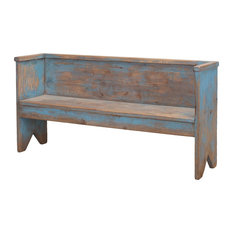 """61"""" w Ethan Bench beach house old pine distressed blue hand made unique"""