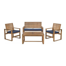 MOD - Kwan 4-Piece Outdoor Seating Set, Brown and Navy - Outdoor Lounge Sets