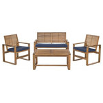 Safavieh - Safavieh Ozark 4-Piece Set, Brown, Navy - Keep your outdoor seating clean and contemporary with the Safavieh Ozark 4-Piece Seating Set. This set comprises one two-seater bench and two chairs, each equipped with chic navy cushions, and a large coffee table to set out your favorite afternoon snacks and drinks. Crafted from solid acacia with a brown finish, this garden set makes a timelessly elegant addition to any outdoor space.