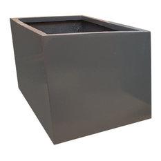 Glossy Grey Trough Fibreglass Planter, 80x40x40 cm